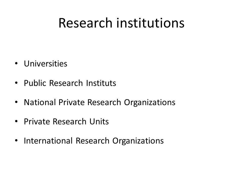 Research institutions Universities Public Research Instituts National Private Research Organizations Private Research Units International Research Org