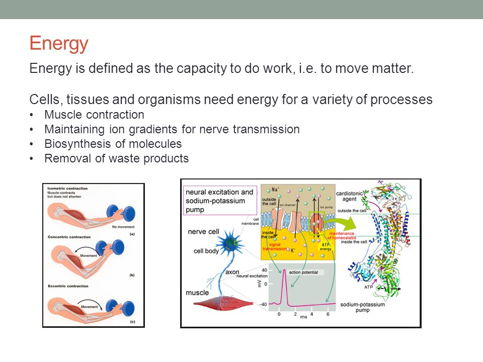 Energy Energy is defined as the capacity to do work, i.e.