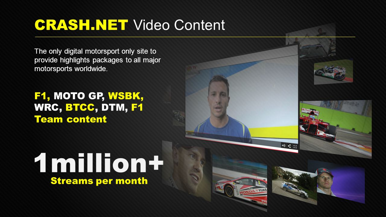 F1, MOTO GP, WSBK, WRC, BTCC, DTM, F1 Team content 1million+ Streams per month CRASH.NET Video Content The only digital motorsport only site to provide highlights packages to all major motorsports worldwide.