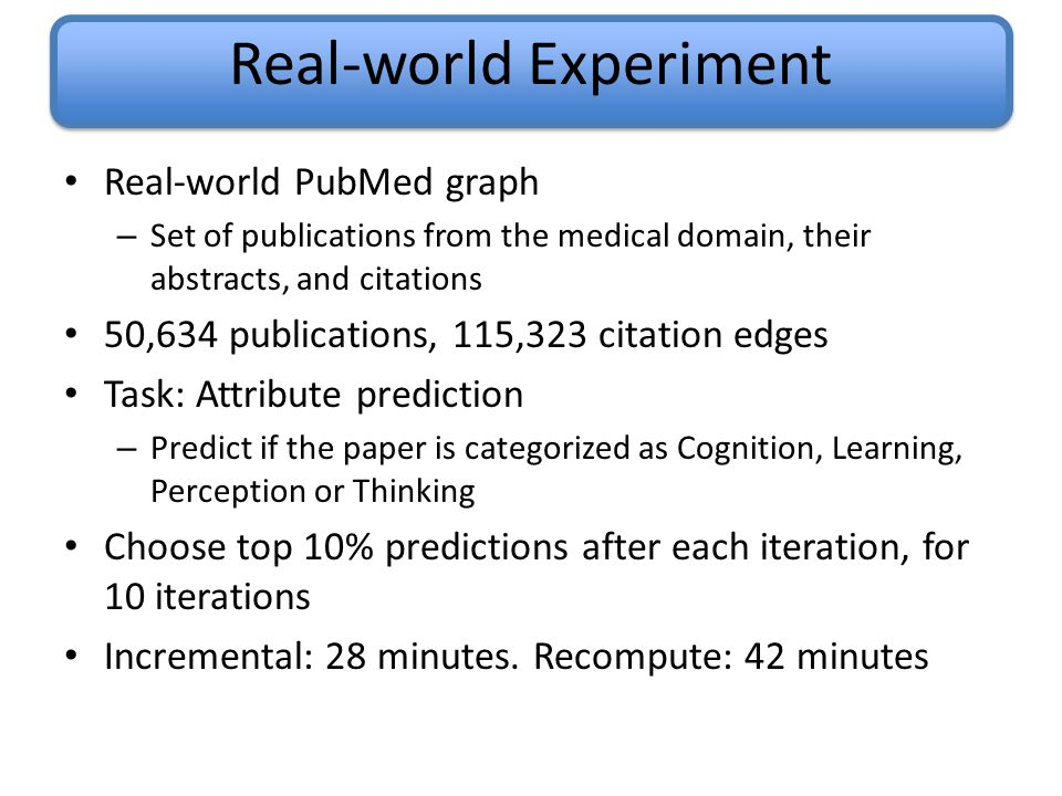 Real-world Experiment Real-world PubMed graph – Set of publications from the medical domain, their abstracts, and citations 50,634 publications, 115,323 citation edges Task: Attribute prediction – Predict if the paper is categorized as Cognition, Learning, Perception or Thinking Choose top 10% predictions after each iteration, for 10 iterations Incremental: 28 minutes.