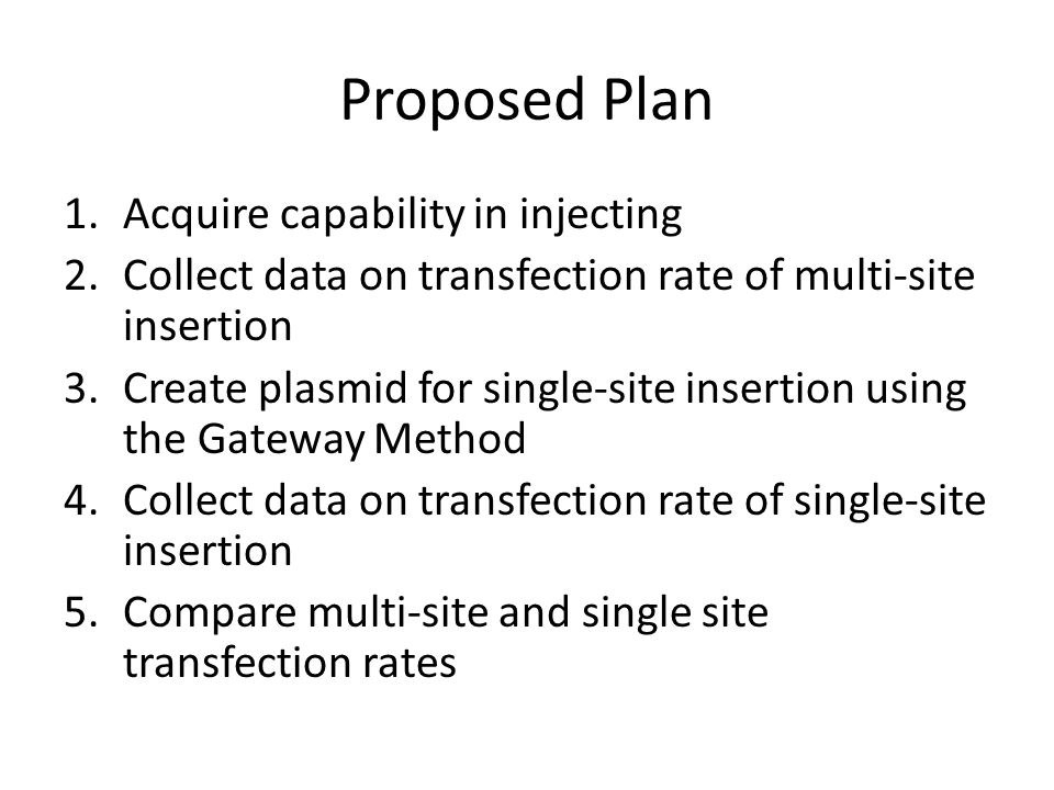 Proposed Plan 1.Acquire capability in injecting 2.Collect data on transfection rate of multi-site insertion 3.Create plasmid for single-site insertion using the Gateway Method 4.Collect data on transfection rate of single-site insertion 5.Compare multi-site and single site transfection rates