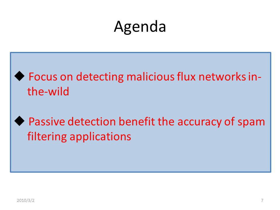 Agenda Introduction Objective Detecting Malicious Flux Networks Experiments Conclusion 2010/3/218
