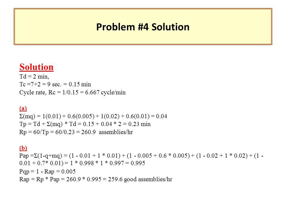 Solution Td = 2 min, Tc =7+2 = 9 sec.