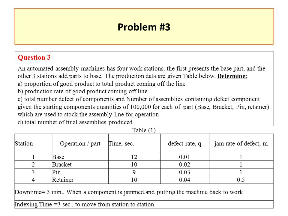 Problem #3 Question 3 An automated assembly machines has four work stations.