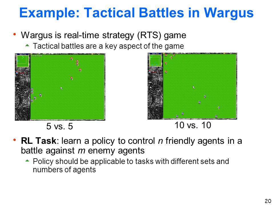 20 Example: Tactical Battles in Wargus  Wargus is real-time strategy (RTS) game  Tactical battles are a key aspect of the game  RL Task: learn a po