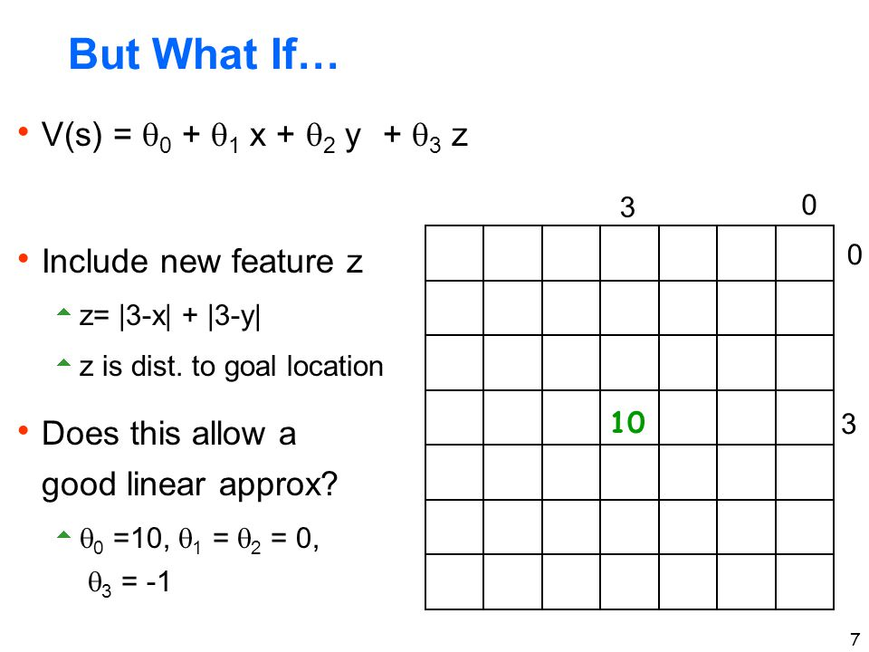 7 But What If…  V(s) =  0 +  1 x +  2 y 10 +  3 z  Include new feature z  z=  3-x  +  3-y   z is dist. to goal location  Does this allow a go