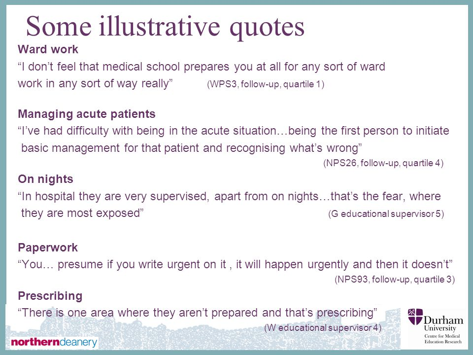 ∂ Some illustrative quotes Ward work I don't feel that medical school prepares you at all for any sort of ward work in any sort of way really (WPS3, follow-up, quartile 1) Managing acute patients I've had difficulty with being in the acute situation…being the first person to initiate basic management for that patient and recognising what's wrong (NPS26, follow-up, quartile 4) On nights In hospital they are very supervised, apart from on nights…that's the fear, where they are most exposed (G educational supervisor 5) Paperwork You… presume if you write urgent on it, it will happen urgently and then it doesn't (NPS93, follow-up, quartile 3) Prescribing There is one area where they aren't prepared and that's prescribing (W educational supervisor 4) (NPS93, follow-up, quartile 3