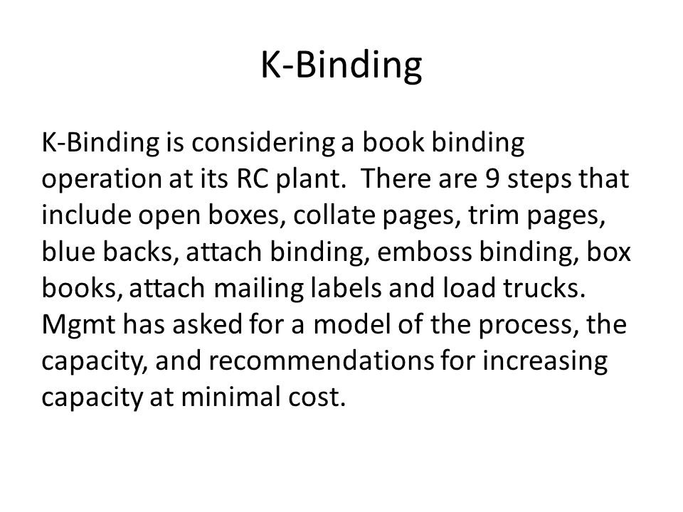 K-Binding K-Binding is considering a book binding operation at its RC plant.