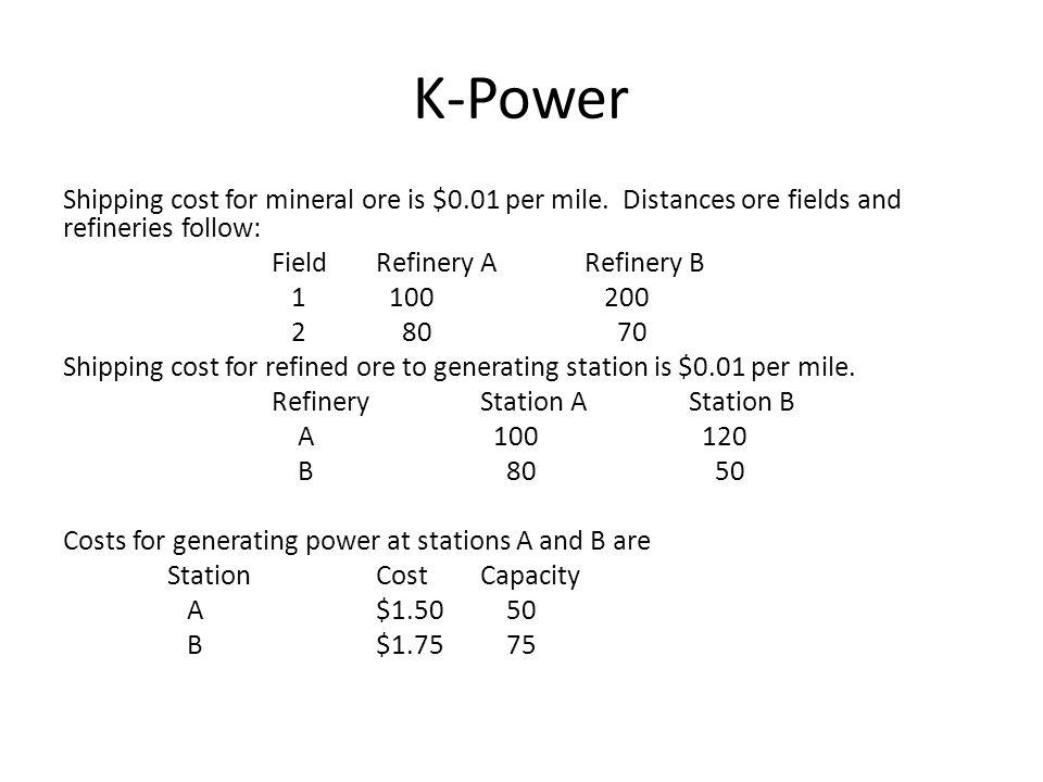 K-Power F1F2 F1 Mine field 1 Mine field 2 What does it cost us to mine the ore?