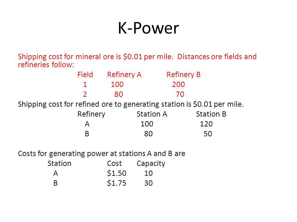 K-Power F1F2 F1 Mine ore (100,1,1) (100,2,1) (200,4,1) (200,0.5,1) (100,2,1) (200,5,1) RBRA (M,1,1) (M,2,1) (M,.8,1) (M,.7,1) Ship to Refinery [0,500,0] (Capacity, cost, gain) [Fixed, slack, cost)