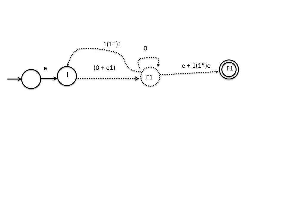 0 I F1 (0 + e1) F1 e + 1(1*)e e 1(1*)1
