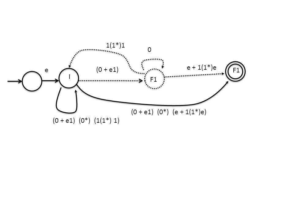 0 I F1 (0 + e1) F1 e + 1(1*)e e 1(1*)1 (0 + e1) (0*) (1(1*) 1) (0 + e1) (0*) (e + 1(1*)e)