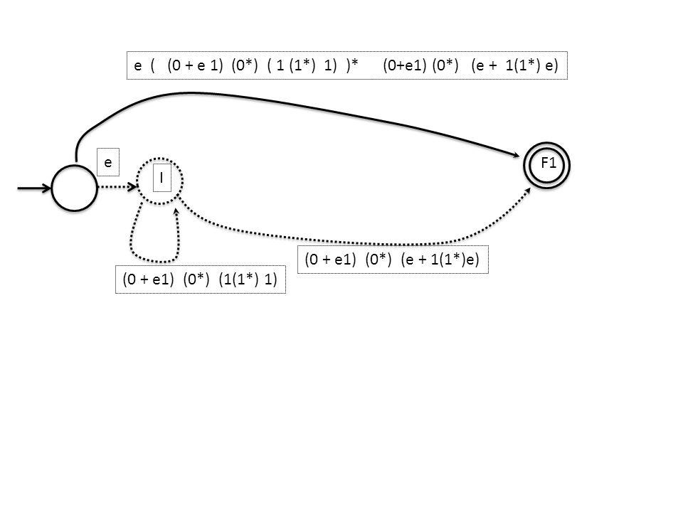 I F1 e (0 + e1) (0*) (1(1*) 1) (0 + e1) (0*) (e + 1(1*)e) e ( (0 + e 1) (0*) ( 1 (1*) 1) )* (0+e1) (0*) (e + 1(1*) e)