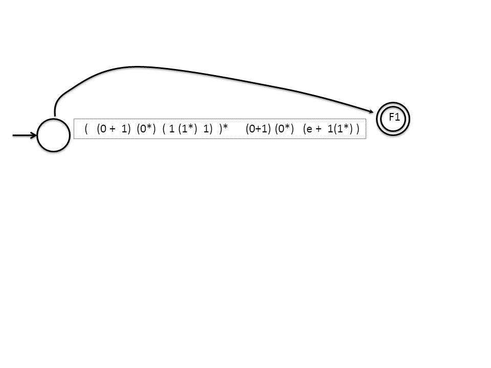 F1 ( (0 + 1) (0*) ( 1 (1*) 1) )* (0+1) (0*) (e + 1(1*) )