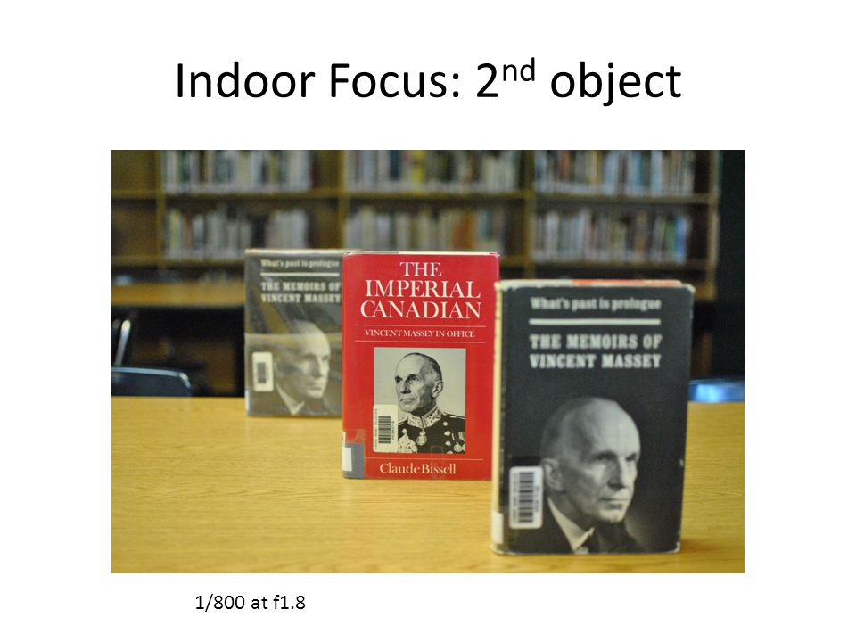 Indoor Focus: 2 nd object 1/800 at f1.8