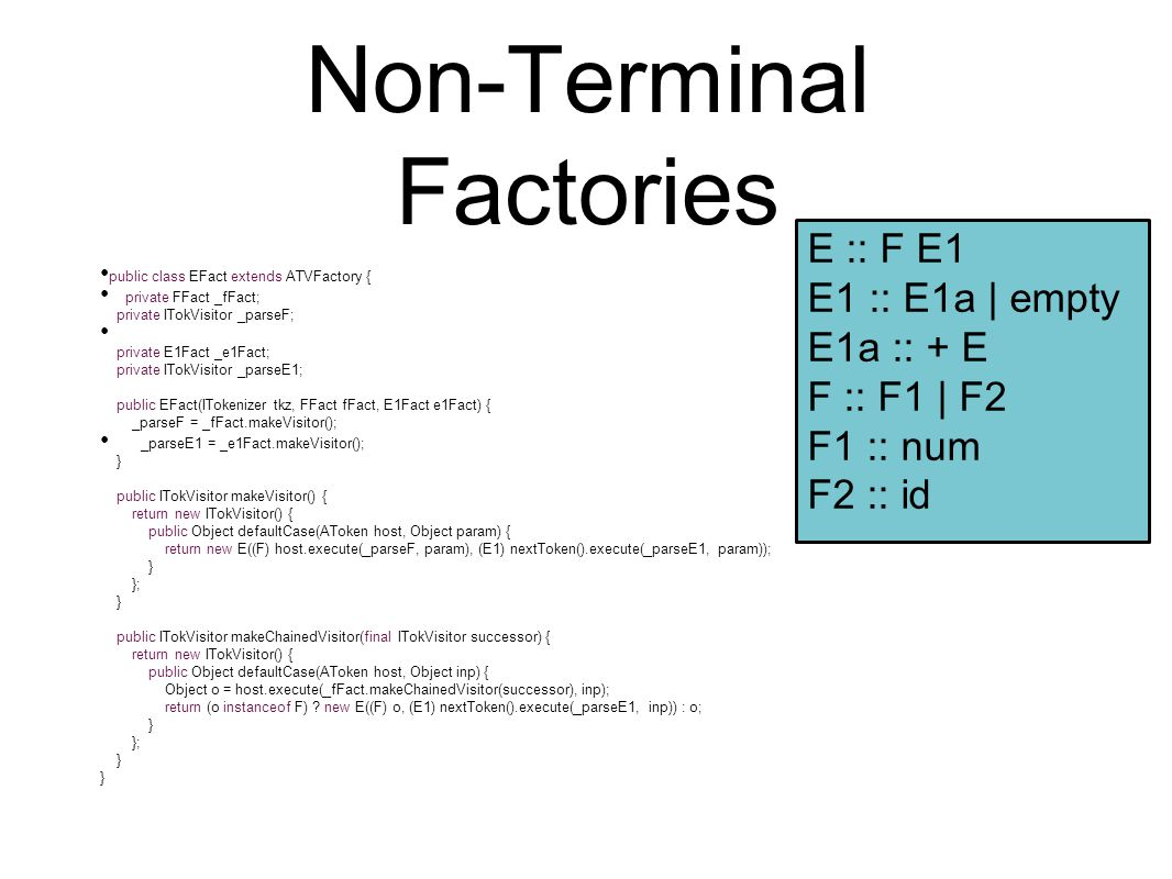 Non-Terminal Factories public class EFact extends ATVFactory { private FFact _fFact; private ITokVisitor _parseF; private E1Fact _e1Fact; private ITok