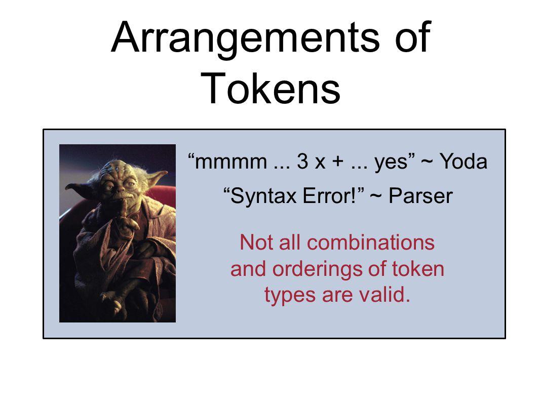 Arrangements of Tokens mmmm... 3 x +...