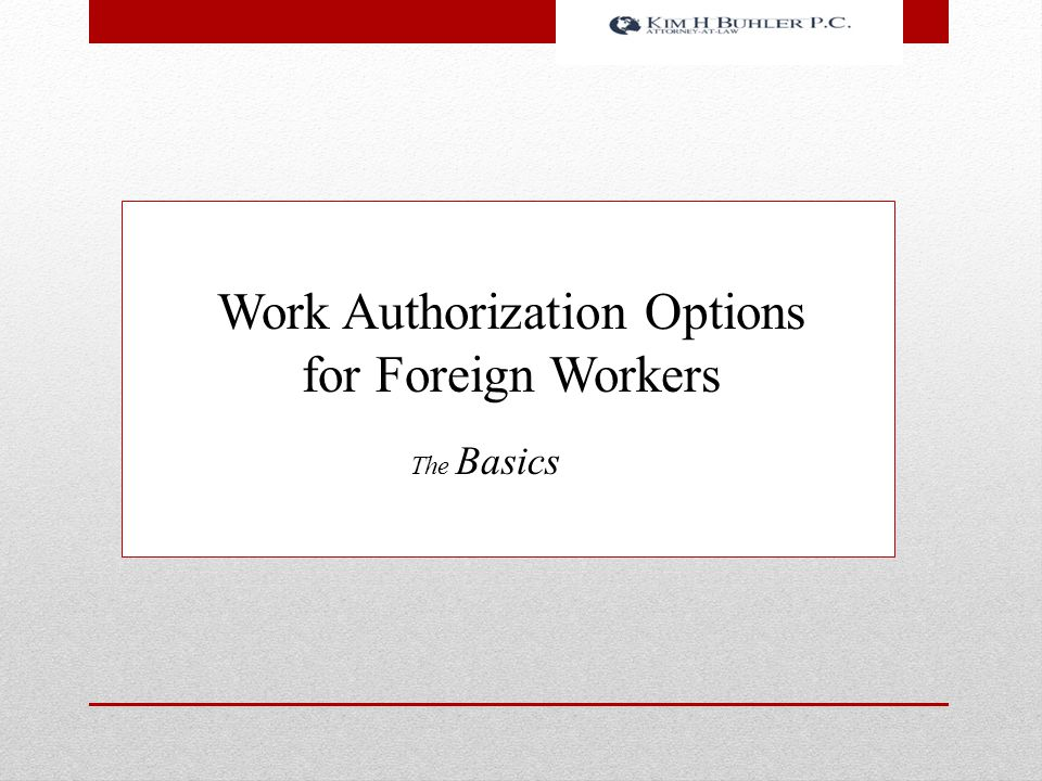 Work Authorization Options for Foreign Workers The Basics