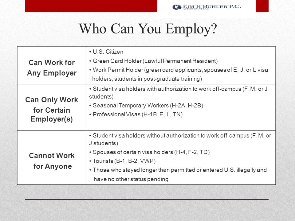 Who Can You Employ? Can Work for Any Employer U.S. Citizen Green Card Holder (Lawful Permanent Resident) Work Permit Holder (green card applicants, sp