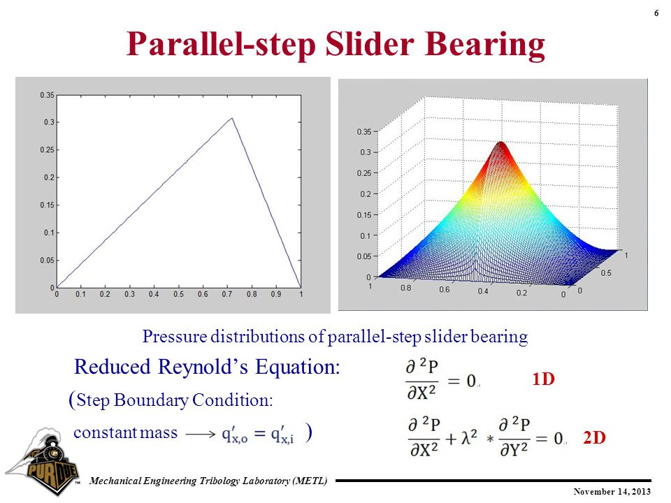 6 November 14, 2013 Mechanical Engineering Tribology Laboratory (METL) Parallel-step Slider Bearing Pressure distributions of parallel-step slider bearing Reduced Reynold's Equation: ( Step Boundary Condition: constant mass ) 1D 2D