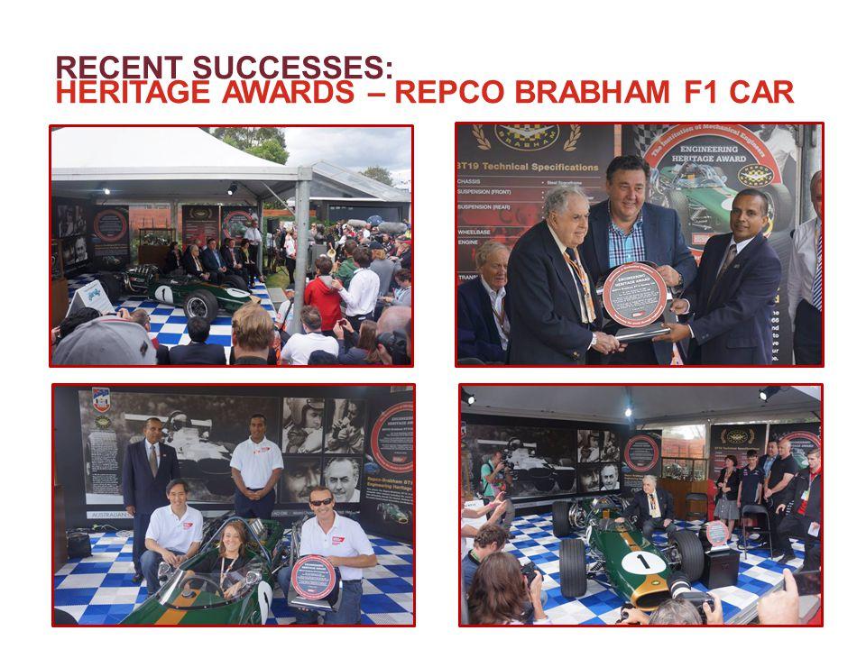 RECENT SUCCESSES: HERITAGE AWARDS – REPCO BRABHAM F1 CAR