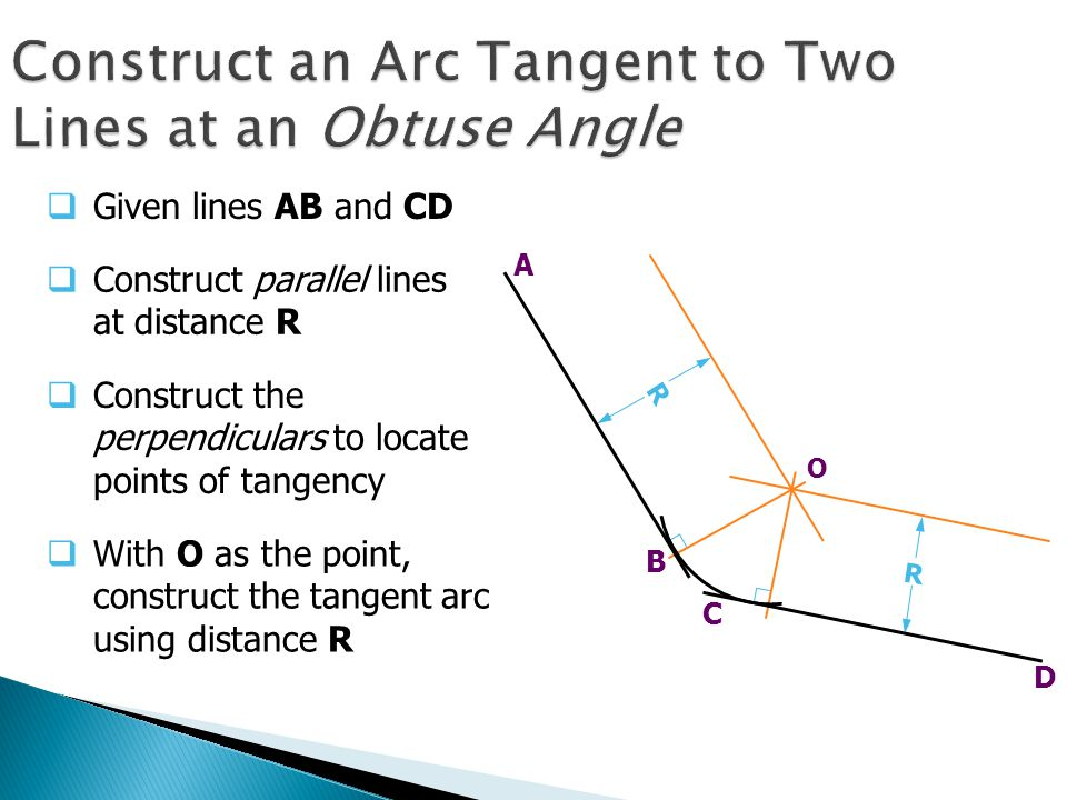 Construct an Arc Tangent to Two Lines at an Obtuse Angle C D  Given lines AB and CD  Construct parallel lines at distance R  Construct the perpendiculars to locate points of tangency  With O as the point, construct the tangent arc using distance R R A B R O