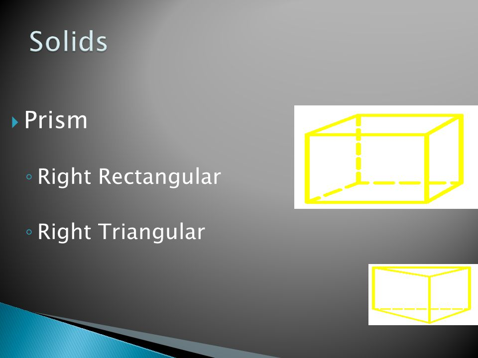  Prism ◦ Right Rectangular ◦ Right Triangular