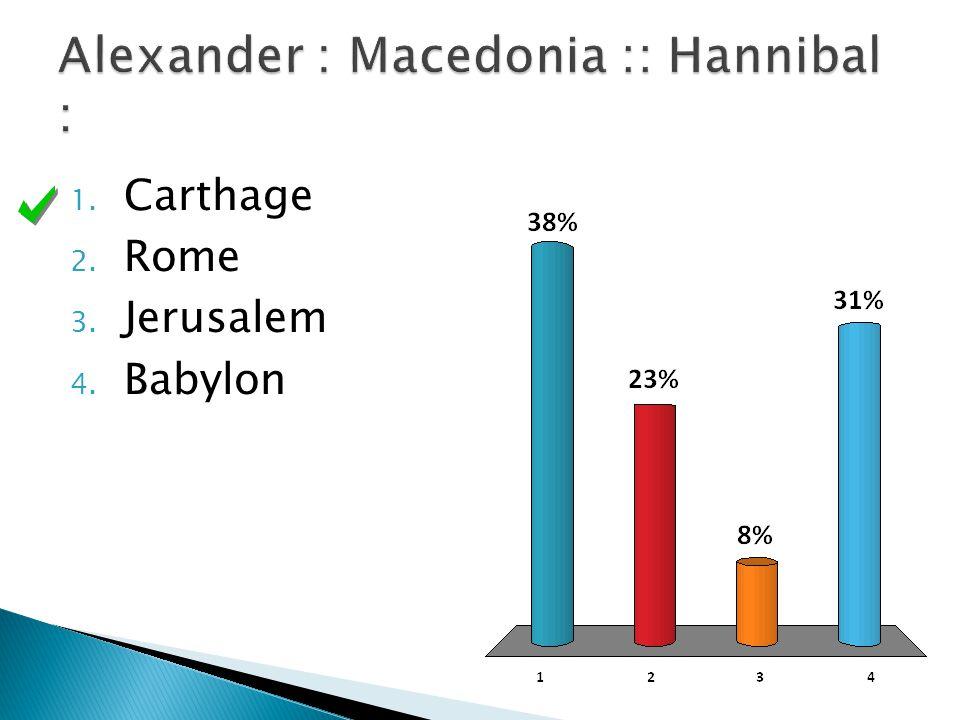 1. Carthage 2. Rome 3. Jerusalem 4. Babylon