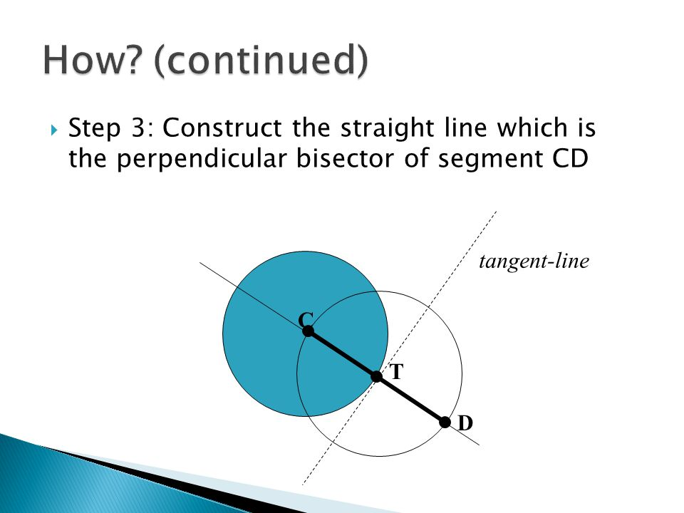  Step 3: Construct the straight line which is the perpendicular bisector of segment CD C T D tangent-line
