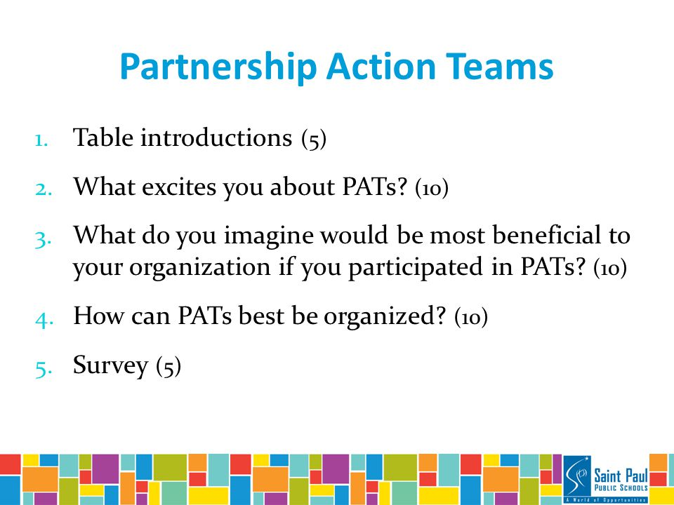 Partnership Action Teams 1. Table introductions (5) 2.
