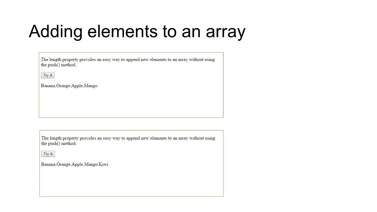 Adding elements to an array