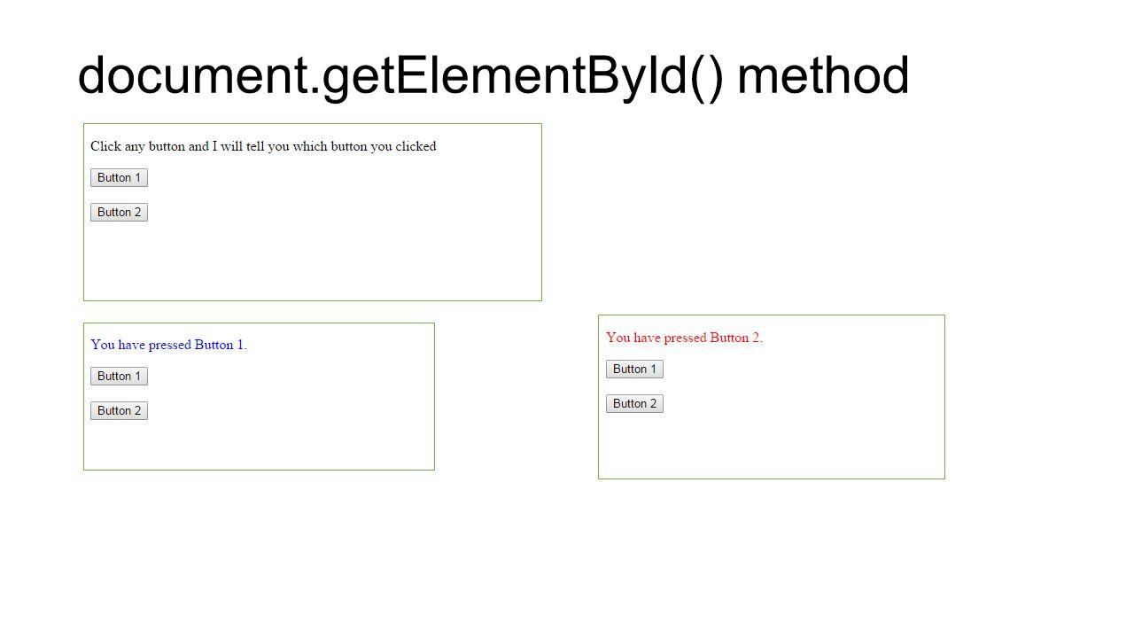 document.getElementById() method
