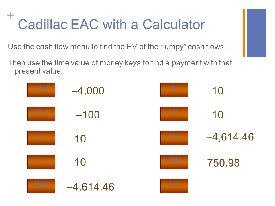 "+ Cadillac EAC with a Calculator Use the cash flow menu to find the PV of the ""lumpy"" cash flows. Then use the time value of money keys to find a paym"
