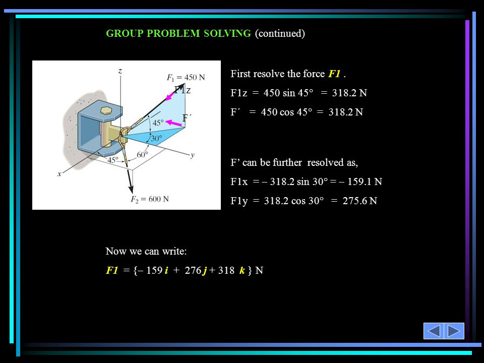 GROUP PROBLEM SOLVING (continued) F' can be further resolved as, F1x =  318.2 sin 30° =  159.1 N F1y = 318.2 cos 30° = 275.6 N F1z F´F´ First resolve the force F1.