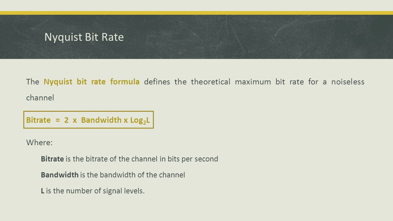 Nyquist Bit Rate The Nyquist bit rate formula defines the theoretical maximum bit rate for a noiseless channel Bitrate = 2 x Bandwidth x Log 2 L Where: Bitrate is the bitrate of the channel in bits per second Bandwidth is the bandwidth of the channel L is the number of signal levels.