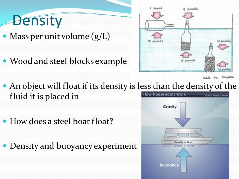 Density Mass per unit volume (g/L) Wood and steel blocks example An object will float if its density is less than the density of the fluid it is placed in How does a steel boat float.