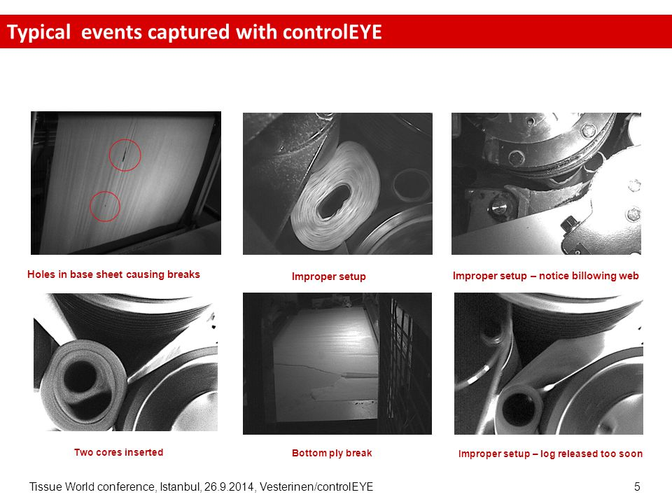 Tissue World conference, Istanbul, 26.9.2014, Vesterinen/controlEYE 5 26/9/2014 Improper setup – notice billowing web Improper setup Holes in base sheet causing breaks Two cores inserted Bottom ply break Improper setup – log released too soon Typical events captured with controlEYE