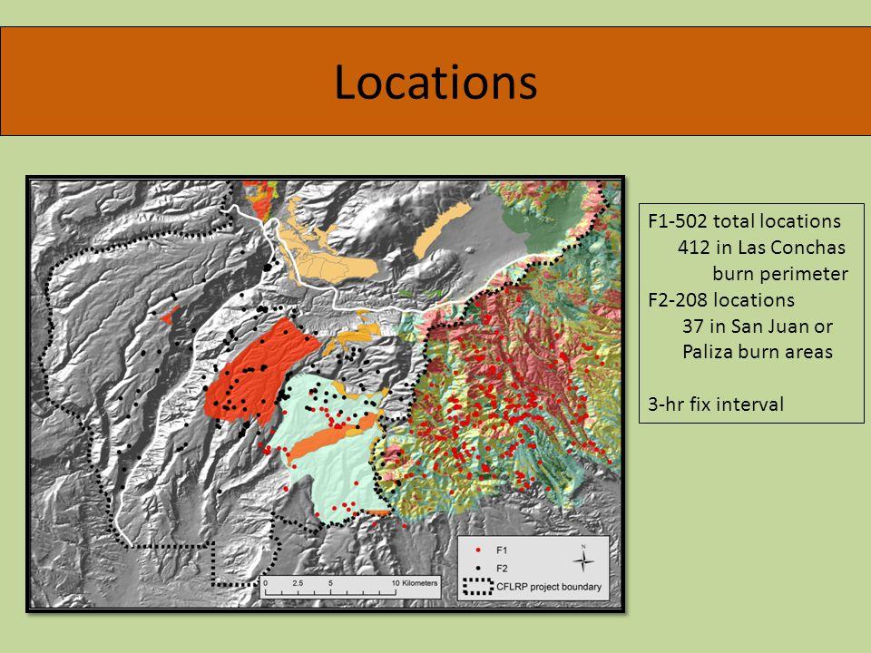 Locations F1-502 total locations 412 in Las Conchas burn perimeter F2-208 locations 37 in San Juan or Paliza burn areas 3-hr fix interval