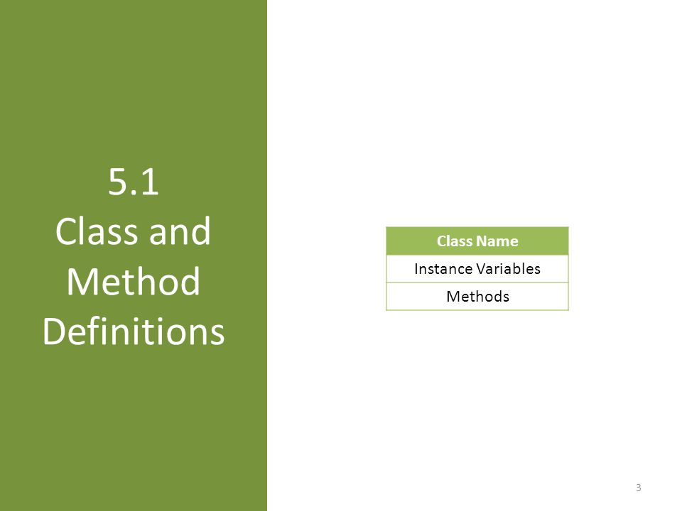5.1 Class and Method Definitions 3 Class Name Instance Variables Methods
