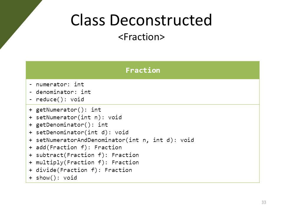 Class Deconstructed 33 Fraction - numerator: int - denominator: int - reduce(): void + getNumerator(): int + setNumerator(int n): void + getDenominator(): int + setDenominator(int d): void + setNumeratorAndDenominator(int n, int d): void + add(Fraction f): Fraction + subtract(Fraction f): Fraction + multiply(Fraction f): Fraction + divide(Fraction f): Fraction + show(): void