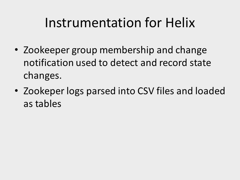 Instrumentation for Helix Zookeeper group membership and change notification used to detect and record state changes. Zookeper logs parsed into CSV fi