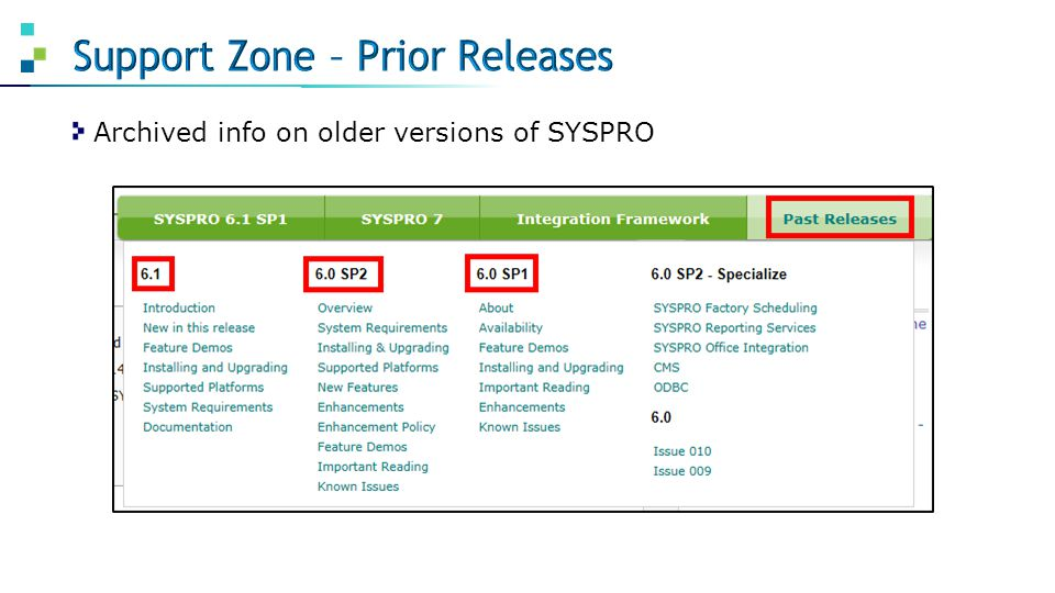 Archived info on older versions of SYSPRO