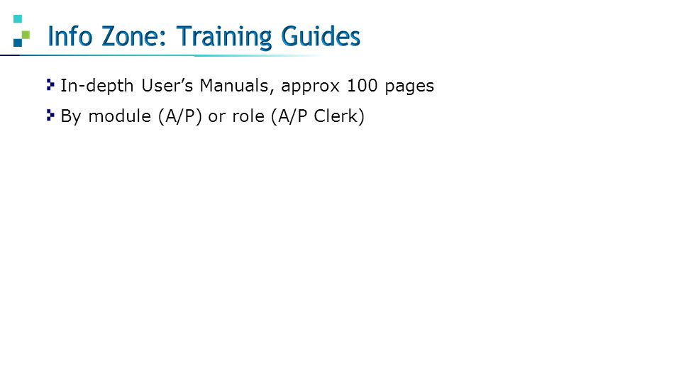 In-depth User's Manuals, approx 100 pages By module (A/P) or role (A/P Clerk)