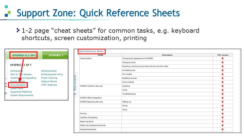 "1-2 page ""cheat sheets"" for common tasks, e.g. keyboard shortcuts, screen customization, printing"