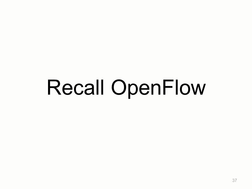 Recall OpenFlow 37