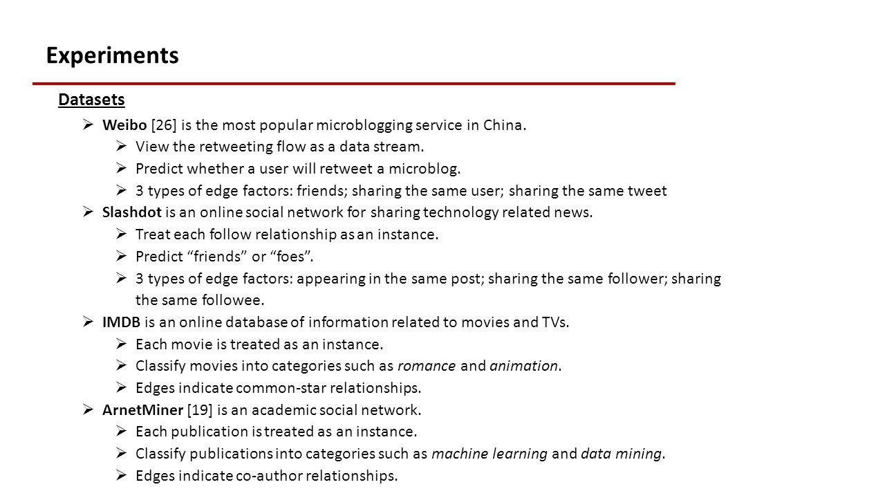 Experiments Datasets  Weibo [26] is the most popular microblogging service in China.
