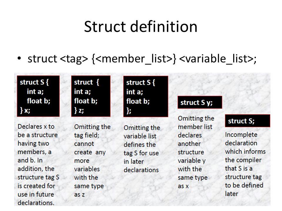 Struct definition struct { } ;