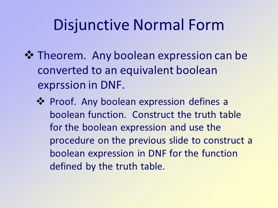 Disjunctive Normal Form  Theorem.