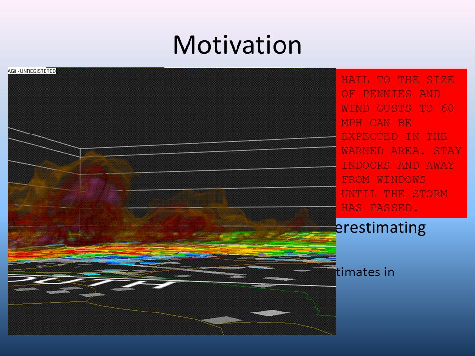 Motivation Scheduled 1 January 2010 change to 1.00 criterion for severe hail in Eastern Region – Quantify relationship for LWX forecast area – Help forecasters with transition after many years of smaller change threshold Several offices in ER guilty of SVR-ly underestimating hail size in SVR products – Provide starting point for including hail size estimates in warnings and statements * AT 426 PM EDT...