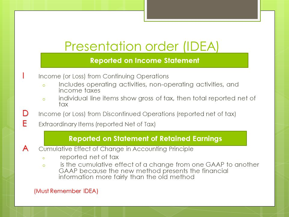 Presentation order (IDEA) I I Income (or Loss) from Continuing Operations o Includes operating activities, non-operating activities, and income taxes